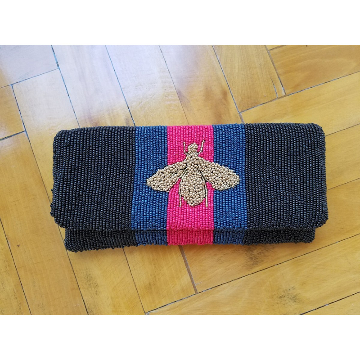 Fold Over Striped Clutch with Bee