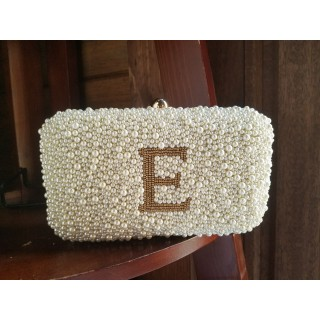 Pearl Monogram Box Clutch