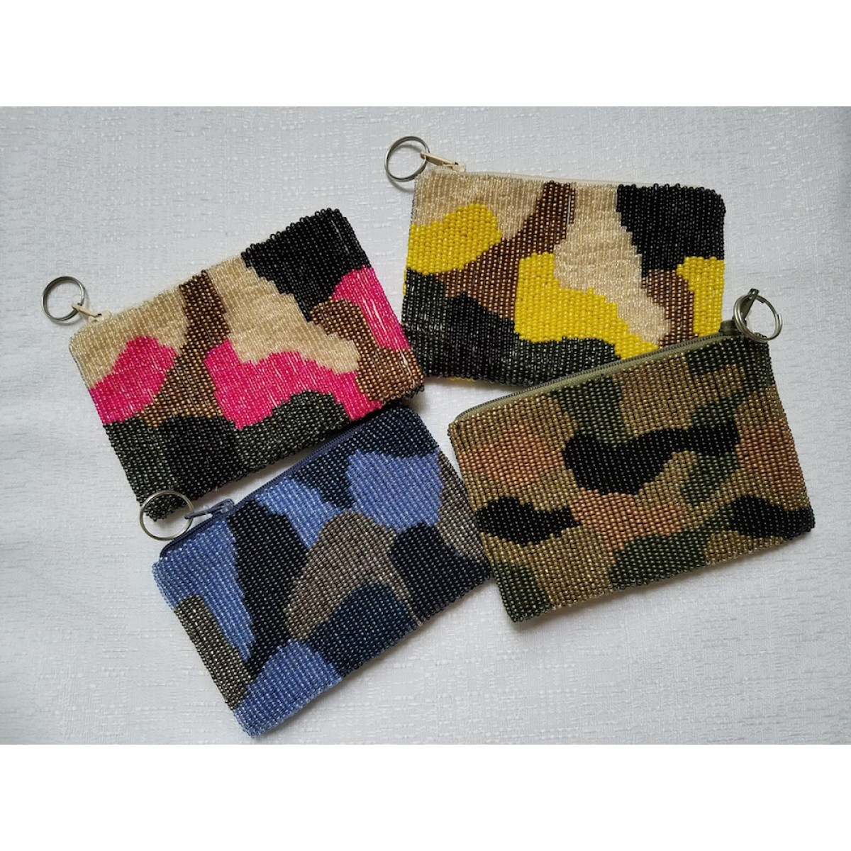 Beaded Camouflage Coin Purse