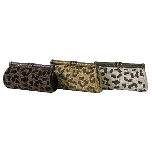 antique clutch frame bag with leopard print