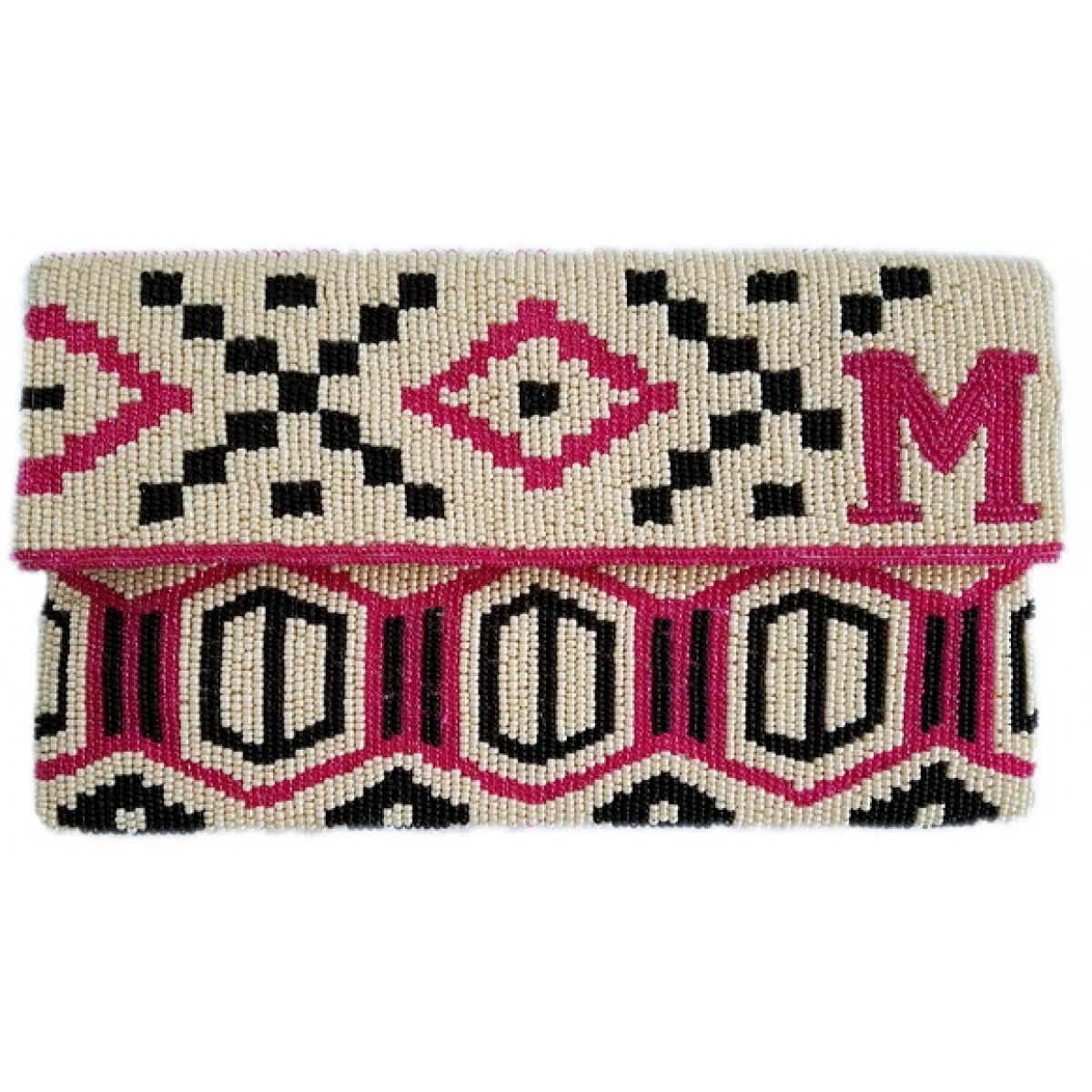 Aztec Monogram Flap Clutch