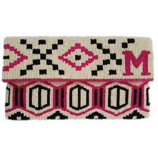 Aztec Monogram Flap Clutch