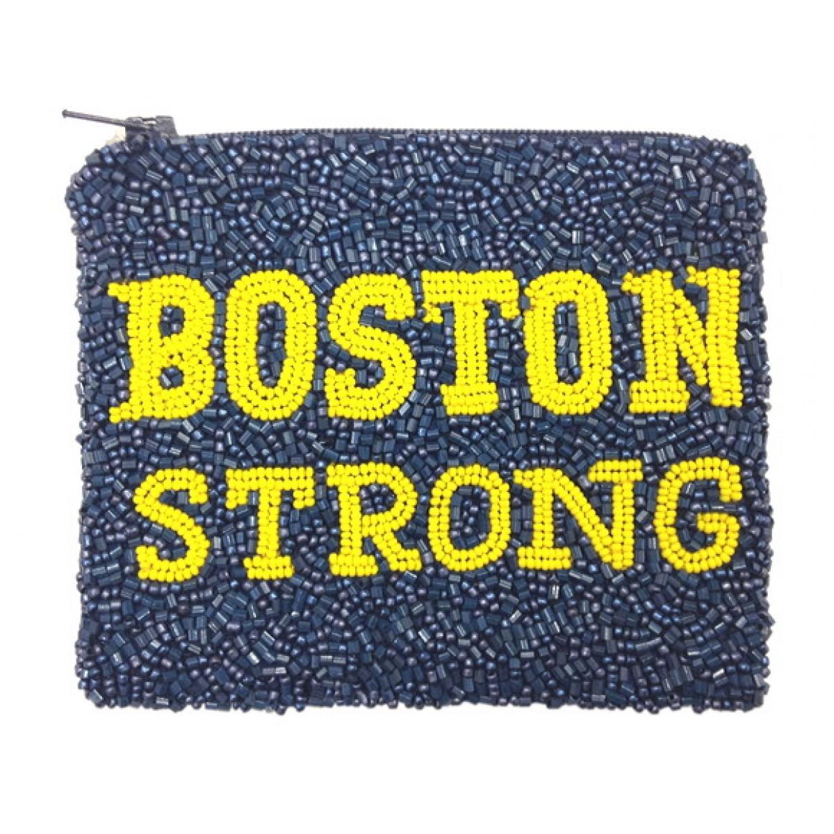 """Beaded """"Boston Strong"""" Coin Purse"""