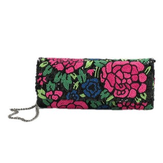 Beaded Cylindrical Clutch Floral Print