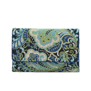 Beaded Envelope Clutch Paisley