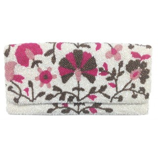 Beaded Floral Print Fold Over Clutch