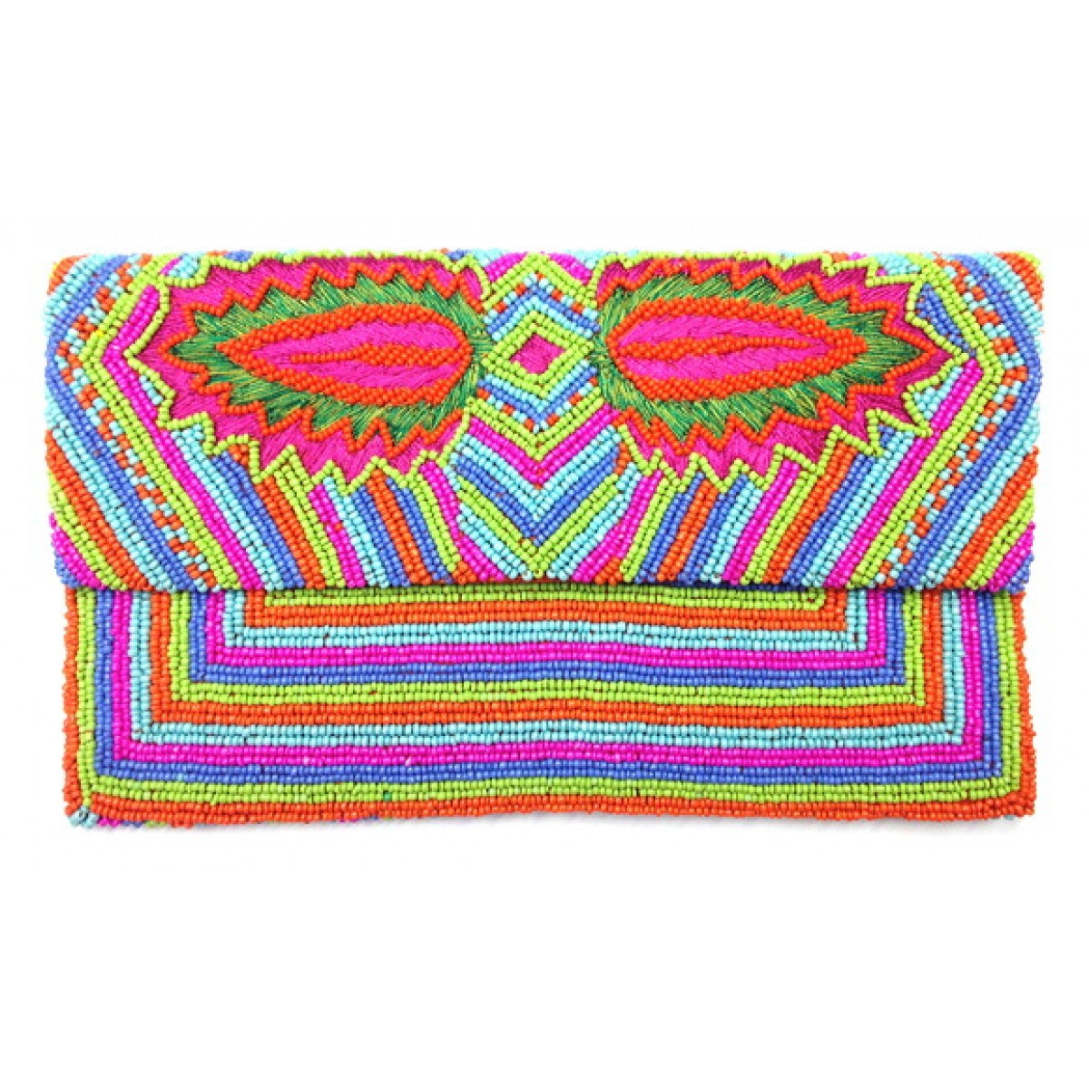 Beaded Leaf Envelope Clutch
