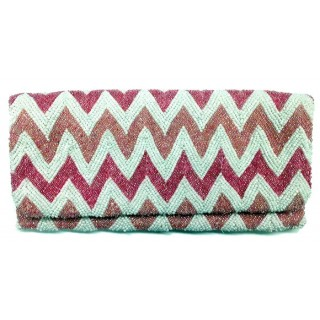Beaded Print Fold Over Clutch