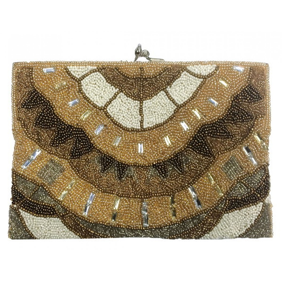 Beaded Rectangle Clutch Abstract