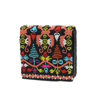 Beaded Soft Box Bag Tribal Print