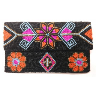 Beaded Star Flower Envelope Clutch