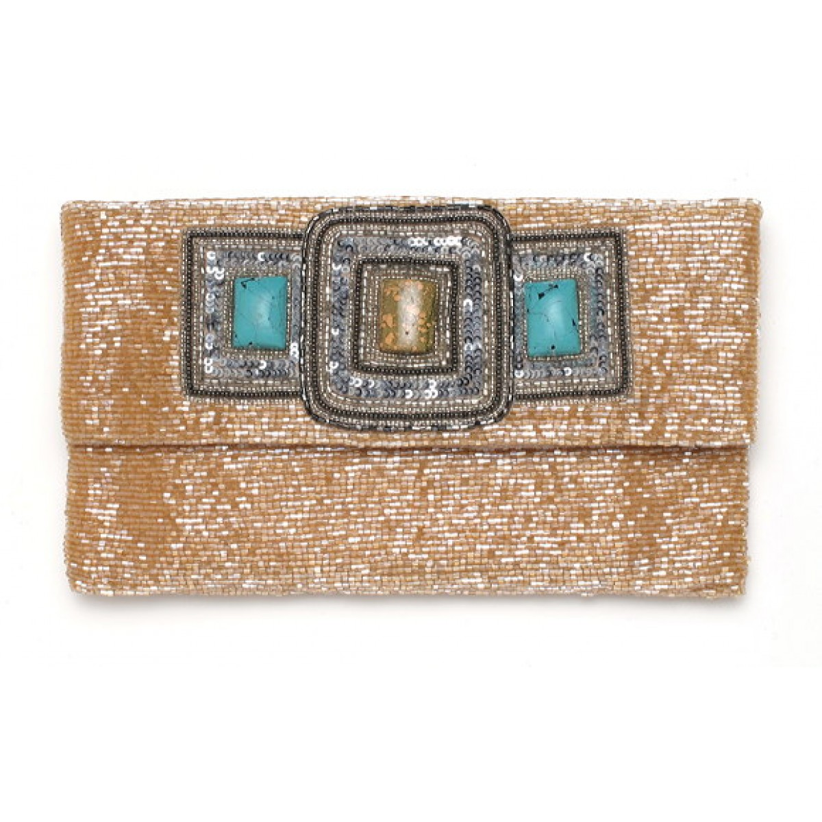 Beaded Stone Envelope Clutch