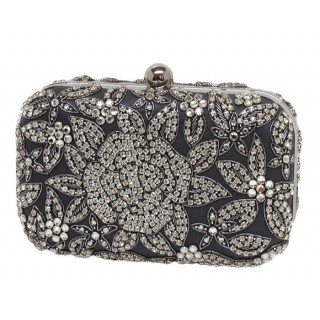 Box Bag with Floral Crystal Design