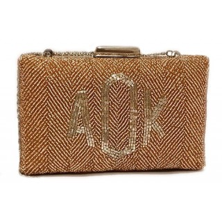 Box Clutch Herringbone Monogram