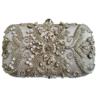Box Clutch Ornate Pearls/Stones