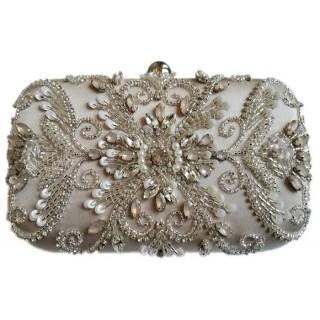 Box Clutch Ornate Pearls/Stones