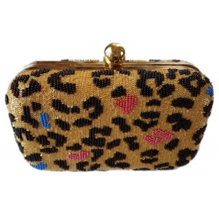 Box Clutch Sequin Leopard