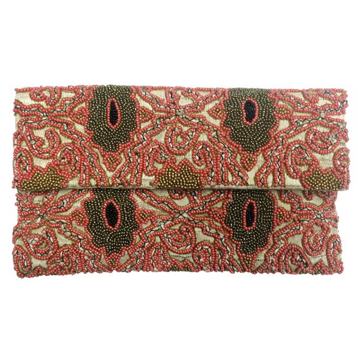 Burlap Clutch Beaded Abstract