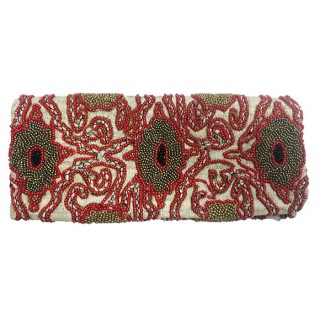Burlap Fold over Clutch Beaded Abstract