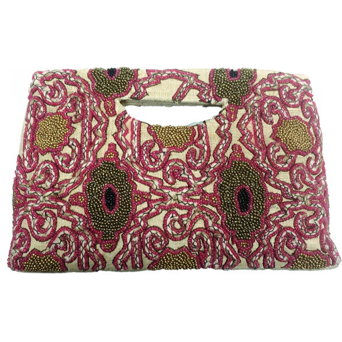 Burlap Tote Beaded Abstract