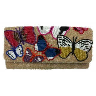 Butterfly Print Beaded Bag
