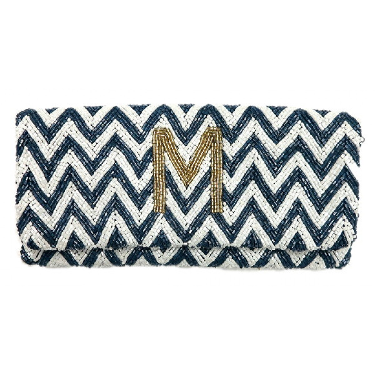 Chevron Beaded Fold Over Clutch With Initial
