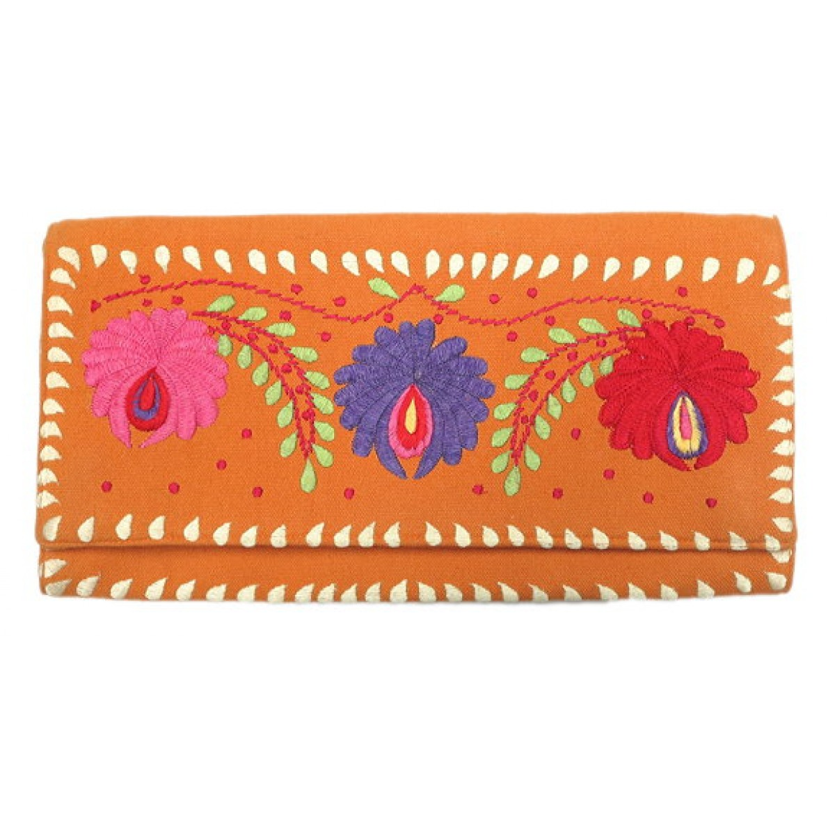 Clutch Canvas Floral Embroidery