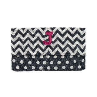 Clutch Chevron / Polka Dots with Initial