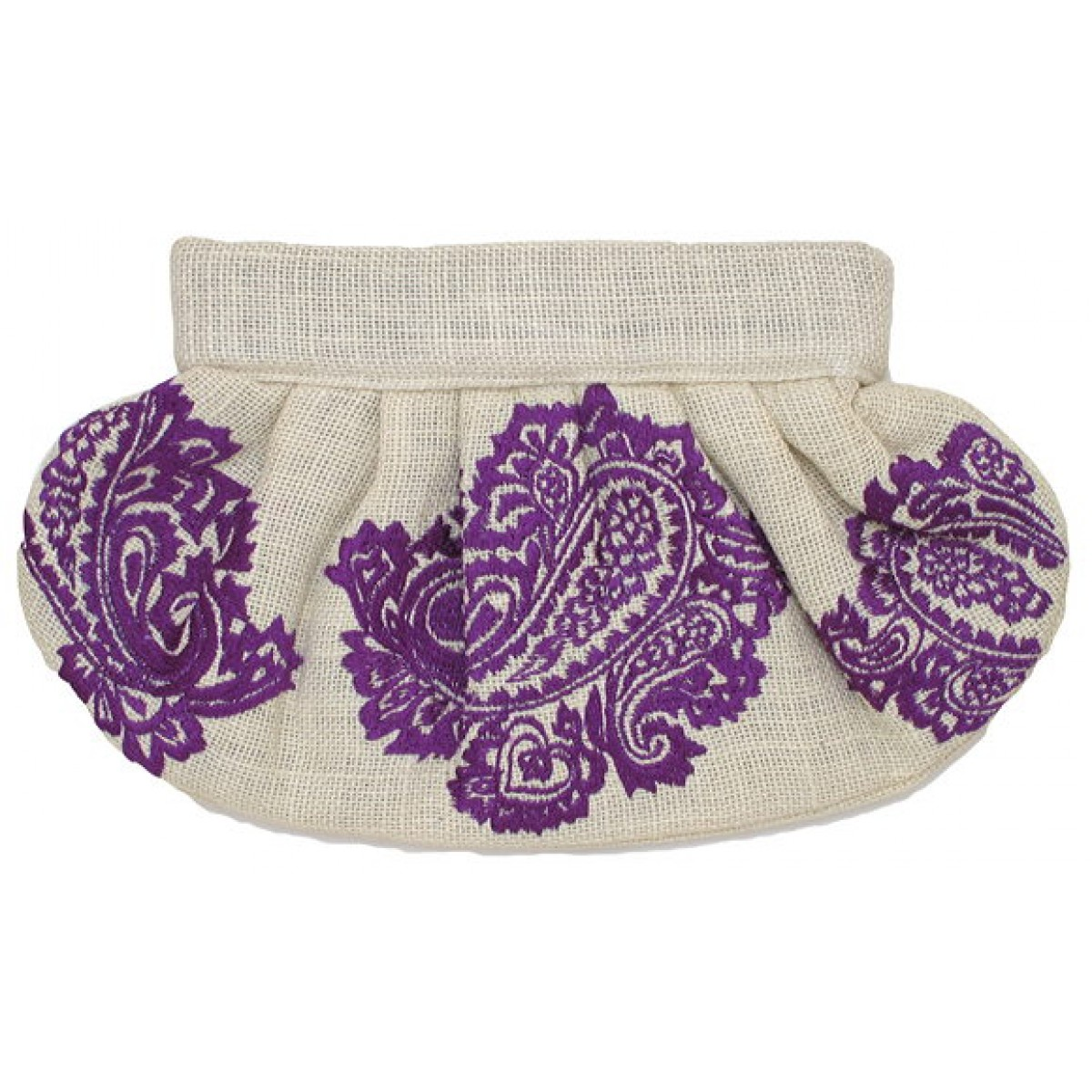 Clutch Jute Embroidered Paisley