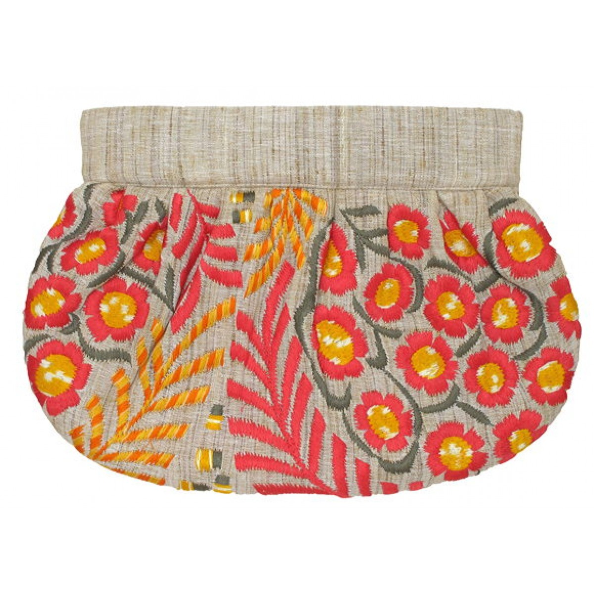 Clutch with Embroidered Flowers