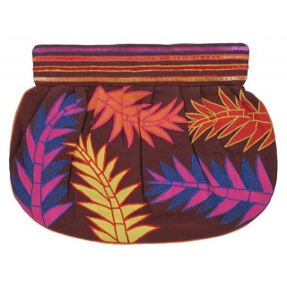 Clutch with Embroidered Leaves