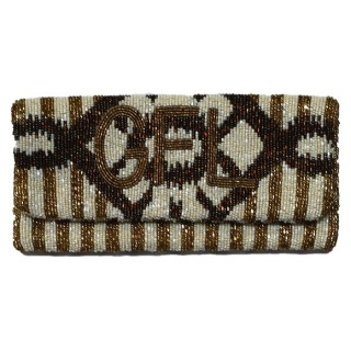 Clutch with Stripes Monogram and Date