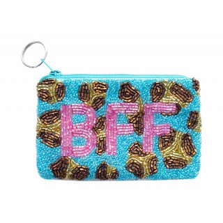 Coin Purse Leopard with Block Monogram