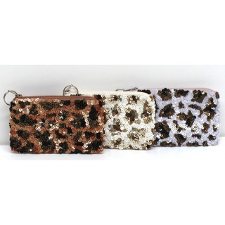 Coin Purse Sequin Leopard