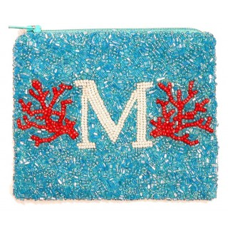 Coral Reef Initial Zip Pouch
