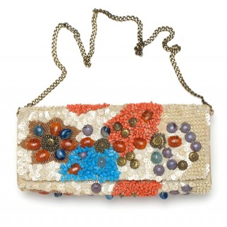 Coral & Turquoise Stone Clutch