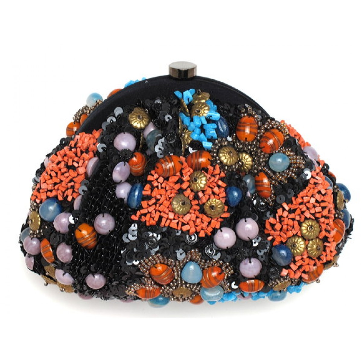 Coral & Turquoise Stone Framed Pouch