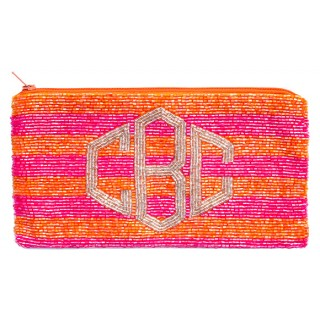 Cosmetic Pouch Horizontal Lines with Diamond Monogram