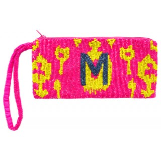 Cosmetic Pouch Ikat with Block Monogram