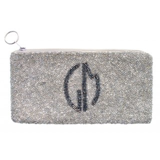 Cosmetic Pouch with Circle Monogram