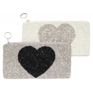 Cosmetic Pouch with Heart Motif