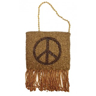 Cross Body Fringe Pouch with Peace Motif