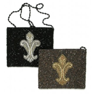 Cross Body Pouch with Fleur de Lis Motif
