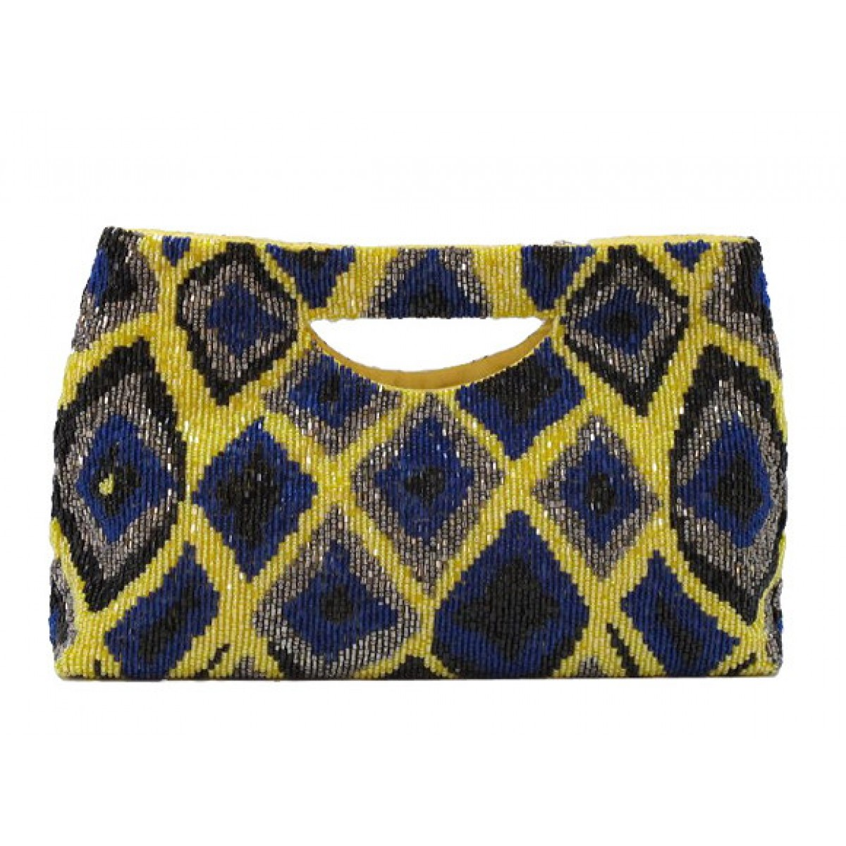 Cut Out Handle Tote with Diamond Ikat