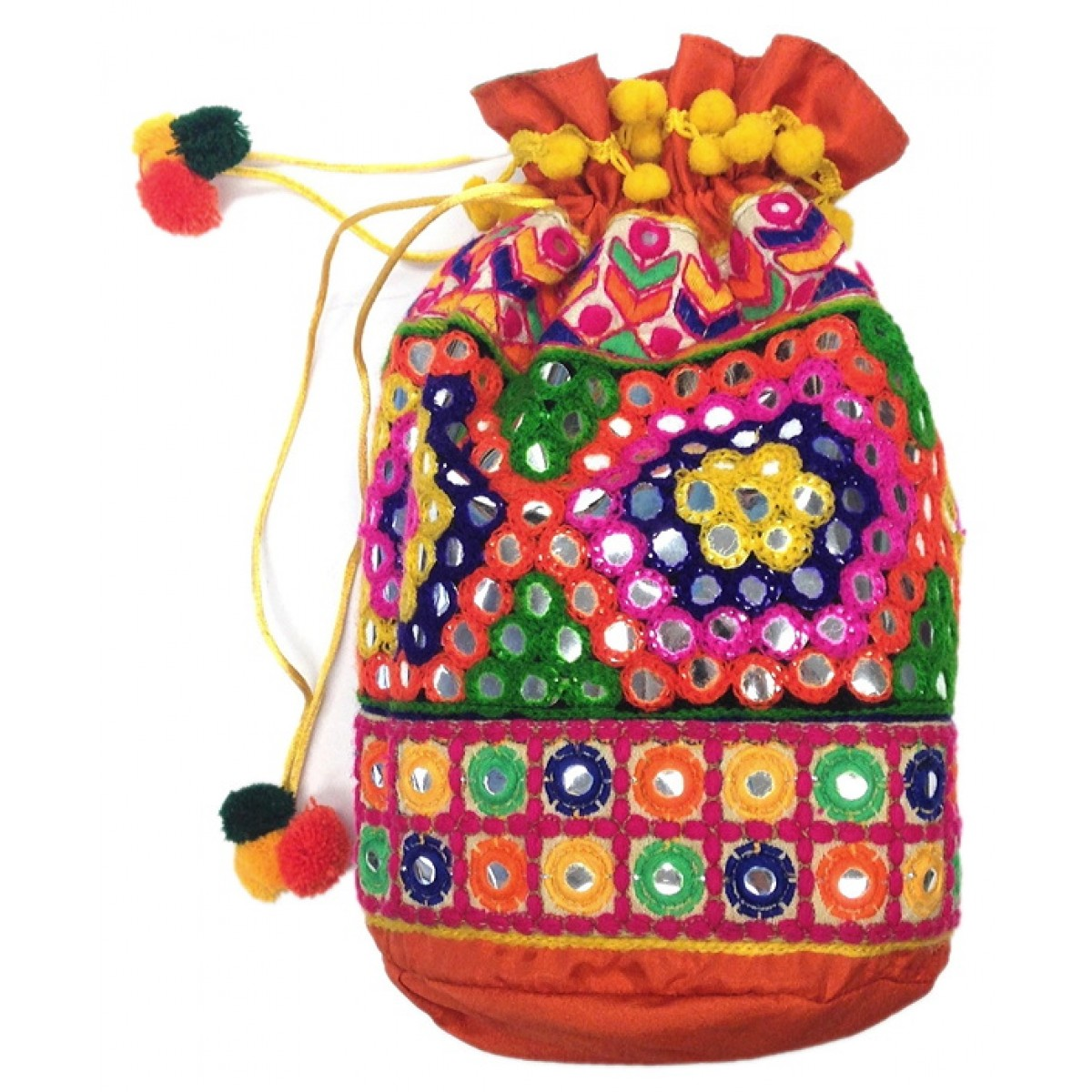 Drawstring Bag with Jaipur Embroidery
