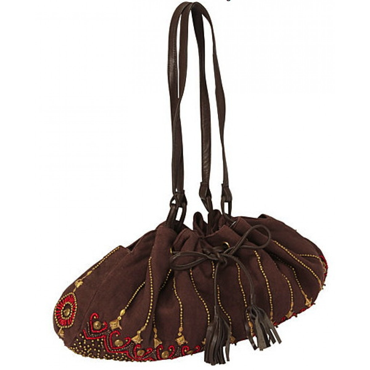 Drawstring Satchel with Beaded Embellishments