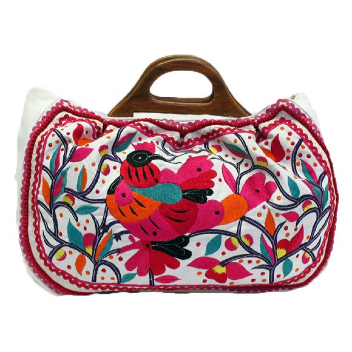Embroidered Canvas Bag with Wooden Handle