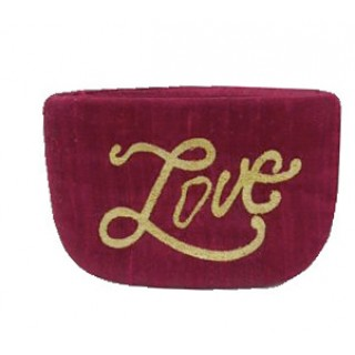 Embroidered Cosmetic Pouch LOVE