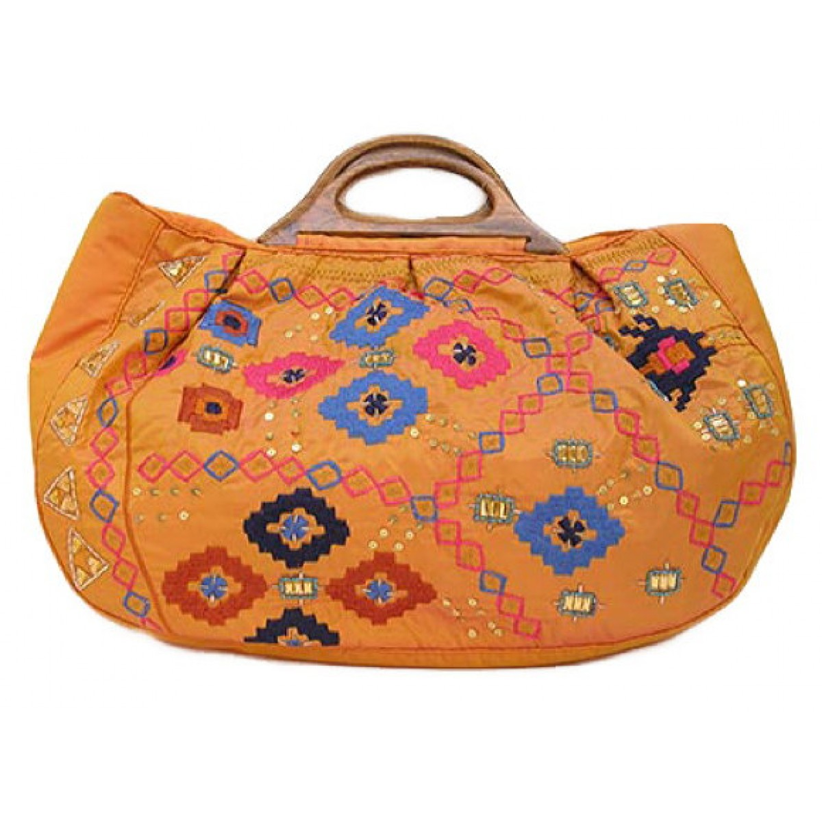 Embroidered Tote Bag with Wooden Handles