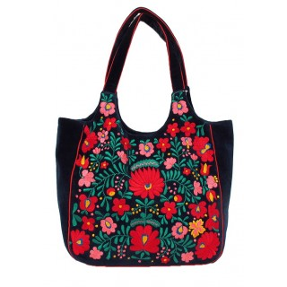 Embroidered Velvet Floral Tote
